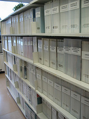 Journals on shelves